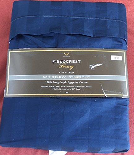 Fieldcrest Luxury Light Blue Damask Stripe 500TC Full Sheet Set Blue