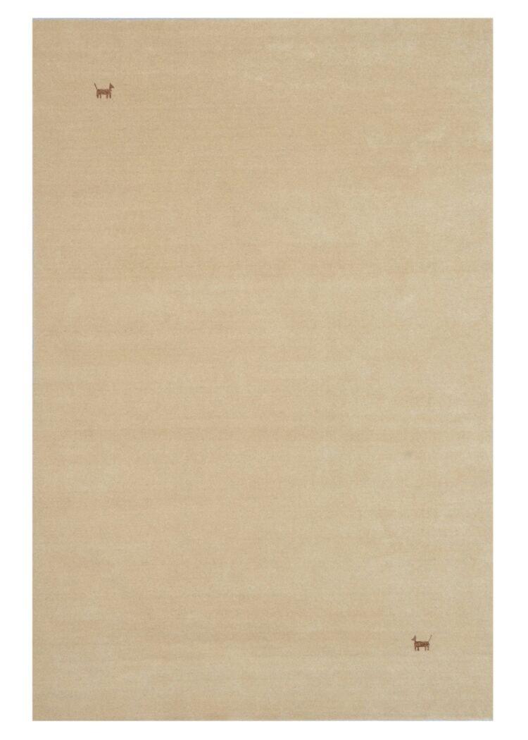 Morgenland Gabbeh Teppich Modern ASTERIA 140 x 70 cm Beige Brücke Handgearbeitet Wollteppich Modern Einfarbig Uni Tiermotive 100% Schurwolle Weich Kuschelig Fusselfrei Für Wohnzimmer Kinderzimmer Flur - In 5 versch. Farben, Viele Größ