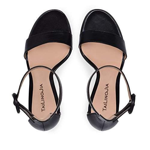 XUE Women's Shoes PU Summer Basic Pump Wedding Shoes Stiletto Heel Peep Toe Buckle Dark Black Brown Party & Evening/Dress Formal Business Work Wedding (Color : C, Size : 43) C