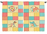 Ambesonne Kids Baby Room Decor Collection, African Animals Vintage Patchwork Reptile Crocodile Elephant Zebra Hearts Flowers, Window Treatments for Kids Bedroom Curtain 2 Panels Set, 108X63 Inches
