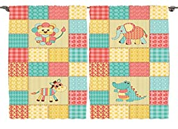 Ambesonne Kids Baby Room Decor Collection, African Animals Vintage Patchwork Reptile Crocodile Elephant Zebra Hearts Flowers, Window Treatments for Kids Bedroom Curtain 2 Panels Set, 108X84 Inches