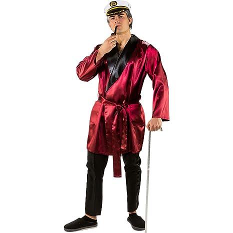 Bata señor de la casa Efecto Satín para Hombre / Rojo Oscuro / Disfraz Bata Gigolo