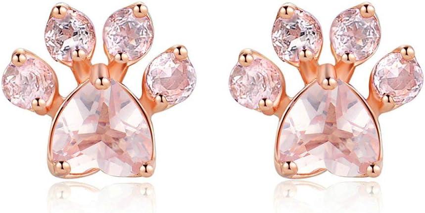 NOBRAND Pendientes De Mujer Pendientes De Plata 925 Aretes De Cuarzo Rosa Pendientes De Piedras Preciosas