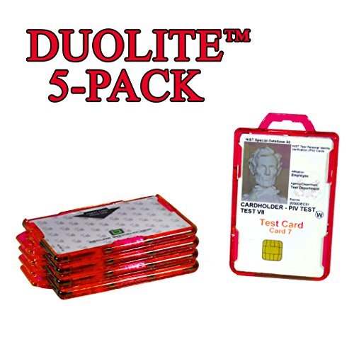 - ID Stronghold Secure Badge Holder Duolite 5 Pack (IDSH2004-001B-red) Made in USA (5-Pack, Red)