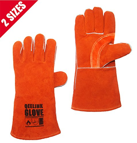 QeeLink Cotton Lined and Kevlar Stitching Leather Welding Gloves, 14-Inch, (Factory Leather Jacket)