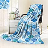 vanfan Soft Warm Cozy Throw Blanket Arabic Mosaic Pattern in Watercolor Paint Retro Style Islamic Artwork Light Blue,Silky Soft,Anti-Static,2 Ply Thick Blanket. (60''x36'')
