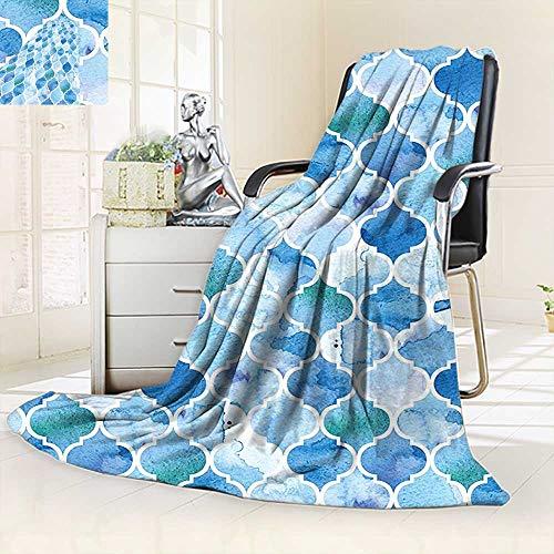 vanfan Soft Warm Cozy Throw Blanket Arabic Mosaic Pattern in Watercolor Paint Retro Style Islamic Artwork Light Blue,Silky Soft,Anti-Static,2 Ply Thick Blanket. (60''x36'') by vanfan