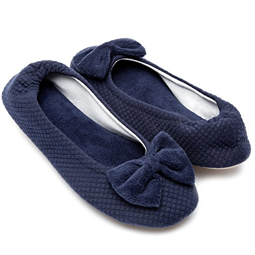 Outdoor Navy Use Stretchable Memory Terry Blue Heel amp; Women's w Foam ULTRAIDEAS Indoor Slippers Comfort qWgYP7OEan