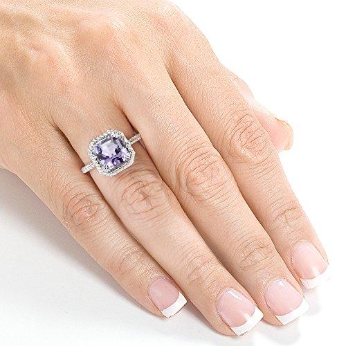 Bague diamant et améthyste Lavande 6carats (ctw) en or blanc 10K _ _ _ _ 7,5