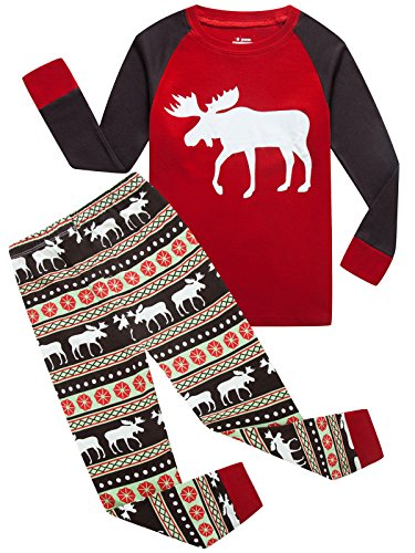 Boys Girls Christmas Pajamas Toddler Cotton Moose kids Pjs Christmas Set (Girls Size 12 Christmas Pajamas)