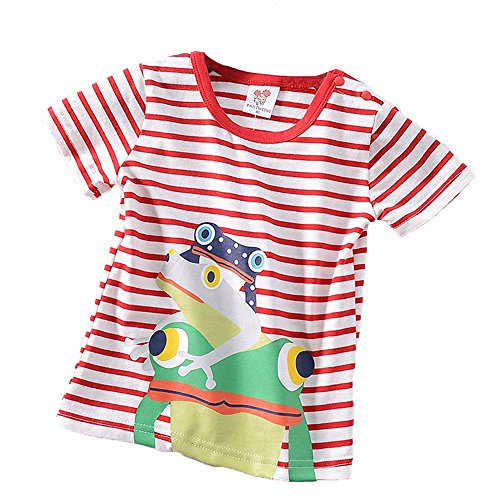 Jchen for 0-4 Years Summer Infant Baby Kids Little Boys Short Sleeve Cartoon Frog Striped Print Casual T-Shirt Tops Tee (Age: 6-12 Months, Red)]()
