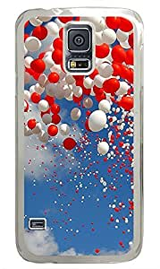 Samsung Galaxy S5 Red and White Balloons PC Custom Samsung Galaxy S5 Case Cover Transparent