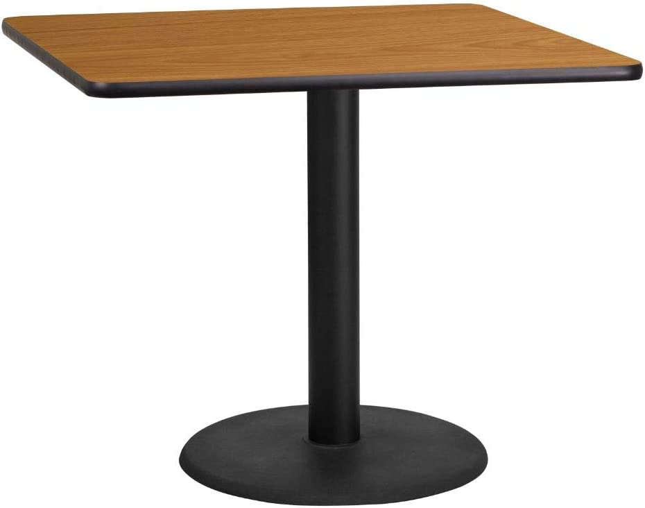 Flash Furniture 36'' Square Natural Laminate Table Top with 24'' Round Table Height Base