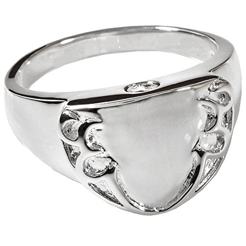 Memorial Gallery 2022p-9 Engravable Shield Ring Platinum (Allow 4-5 Weeks) Cremation Pet Jewelry, Size 9