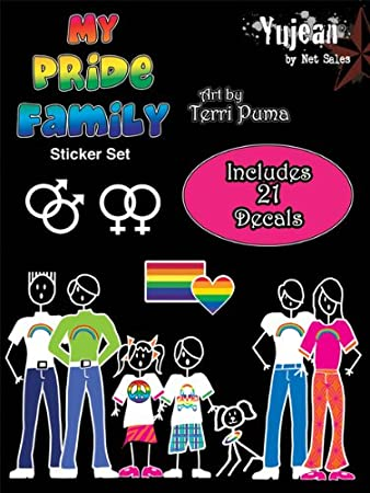 Gay pride stick family people car sticker decal set 21 decals