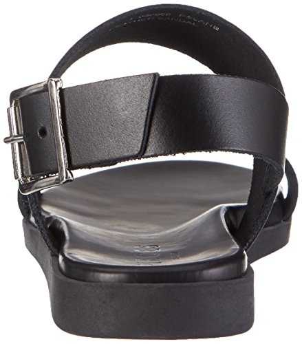 Black Leather Pslane Compensées Pieces Noir Sandales Black Femme Zwpzgzq