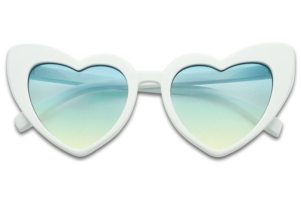 SunglassUP - Oversized High Tip Pointed Heart Shaped Colorful Love Sunglasses (White Frame | Blue Yellow)