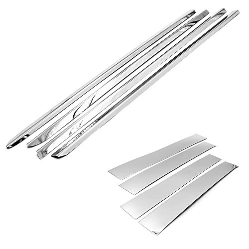 Sizver Chrome Combo Set Stainless Steel Window Sills+Pillar Posts Trims Covers For 2009-2017 Dodge Ram All Model MEGACAB ONLY