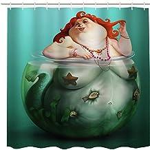 Funny Vintage Fat Mermaid Custom Bath Curtains Waterproof Polyester Shower Curtain 150cm X 180cm