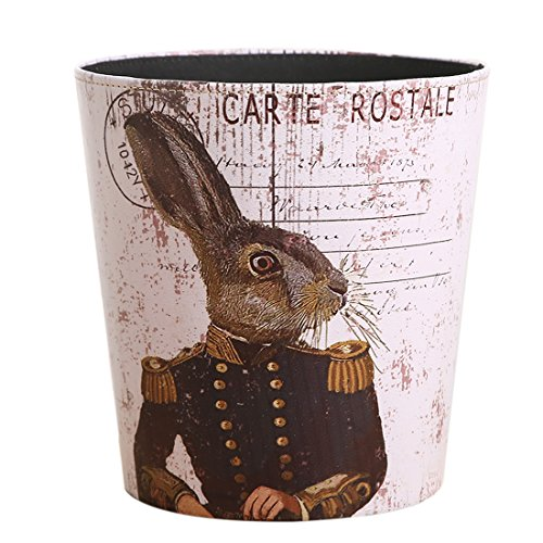 Lingxuinfo European British Style Trash Can Waste Paper Bin Wastebasket Garbage Can Uncovered Waste Bin for Kitchen Bathroom Bedroom - General Rabbit Pattern (European Baskets Style)