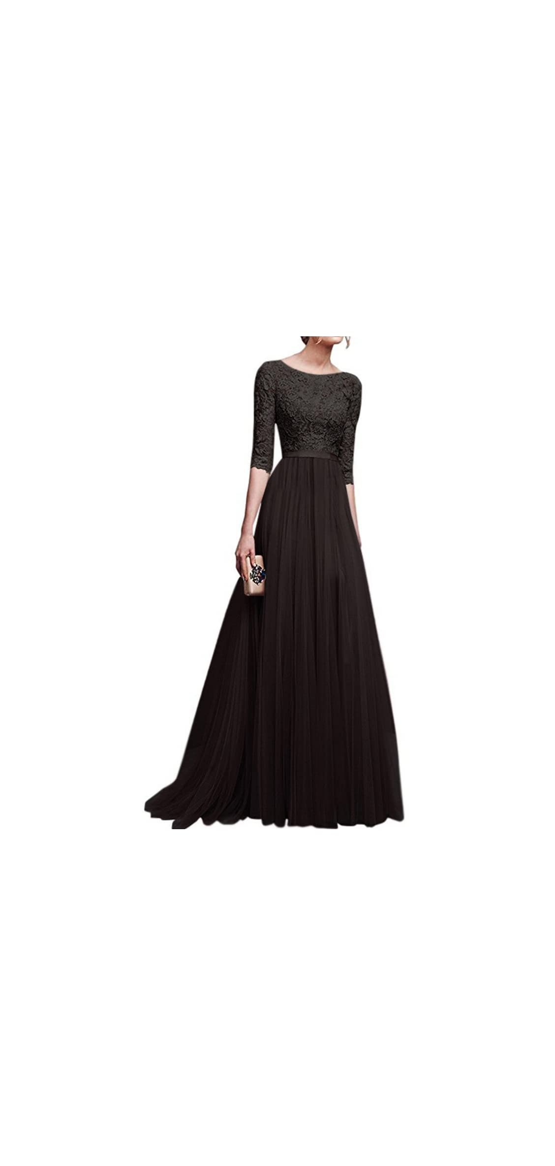 Women's Vintage Floral Lace / Sleeves Floor Length Retro Gown