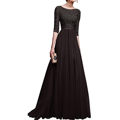 8861ae6d1c685 Womens Vintage Lace Bridesmaid Long Dresses Prom Evening Cocktail 3/4  Sleeves Tulle Floral Retro