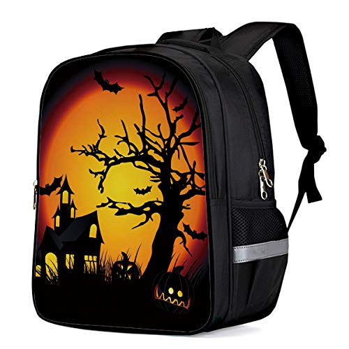 Backpack for Kids, Halloween Cartoon Castle Dead Tree Bat Lightweight Water-resistant Elementary School Fashion Book Bags For Teenage Girls/Boys]()
