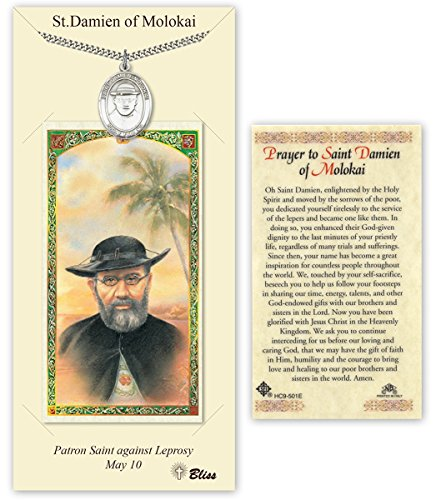 Pewter Saint Damien of Molokai Medal with Laminated Holy Prayer Card