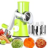 Mandoline Vegetable Slicer,Multi-Function Vegetable Fruit Cutter Rotary Round Drum Cheese Grater with 3 Stainless Steel Rotary Blades for Grinding,Cutting Silk, Slicing