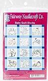 Fairway Needlecraft 92368 Baby Quilt Block, Frog Design, Twelve Blocks, White