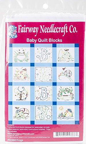 Fairway Needlecraft 92368 Baby Quilt Block, Frog Design, Twelve Blocks, ()