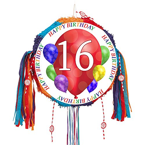 16TH BIRTHDAY BALLOON BLAST PULL PINATA (EACH) by Partypro