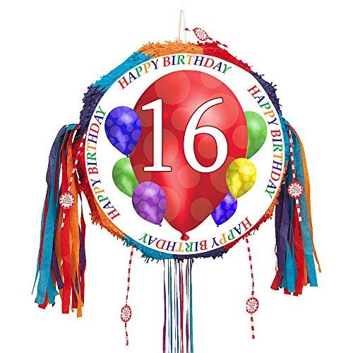 16TH BIRTHDAY BALLOON BLAST PULL PINATA (EACH) by Partypro