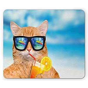 Funny Mouse Pad by Lunarable, Cat Wearing Sunglasses Relaxing Cocktail in the Sea Background Summer Kitty Image, Standard Size Rectangle Non-Slip Rubber Mousepad, Blue Ginger