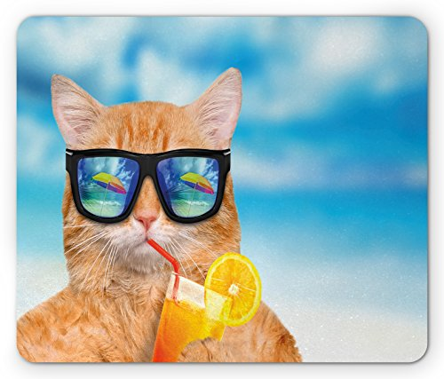 Funny Mouse Pad by Lunarable, Cat Wearing Sunglasses Relaxing Cocktail in the Sea Background Summer Kitty Image, Standard Size Rectangle Non-Slip Rubber Mousepad, Blue - Background Sunglasses No