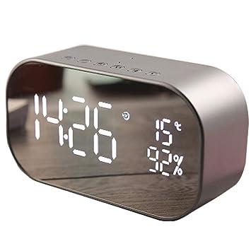 Clevoers Reloj Despertador Digital con Radio FM, Altavoz Bluetooth, Altavoz estéreo inalámbrico, Reloj de mesita de Noche y Espejo, para Dormitorio, ...