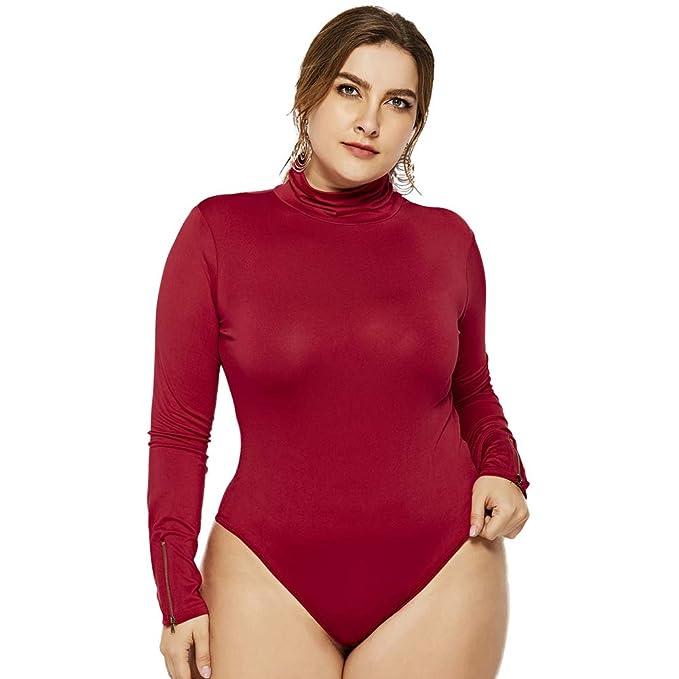 3f504418b Lover-Beauty Mono Mujer Camisa Body Manga Larga Cullo Redondo Ajustado Sexy  Slim Fit para Boda Fiesta Navidad Body Talla Grande Leotardo Body Stretch  ...