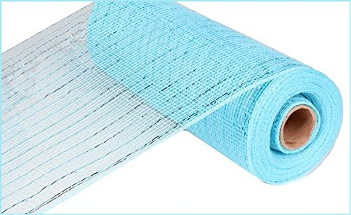 10 inch x 30 feet Deco Poly Mesh Ribbon - Value Mesh (Turquoise, Turquoise Foil) -