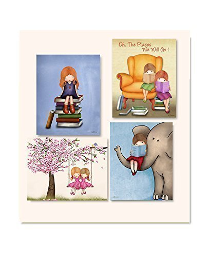Amazon.com: Girls Room Wall Art Prints Reading Books Kids Library ...