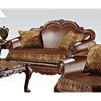 ACME 15161 Dresden Loveseat with 2 Pillows, Chenille PU Finish