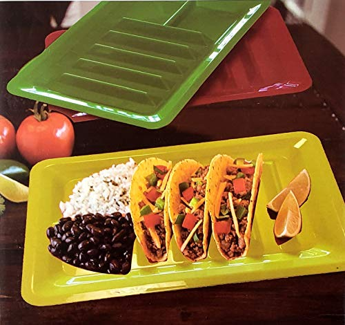 Set of Three Taco Holder Stand Up Divider Plates Multi Colored Plastic -