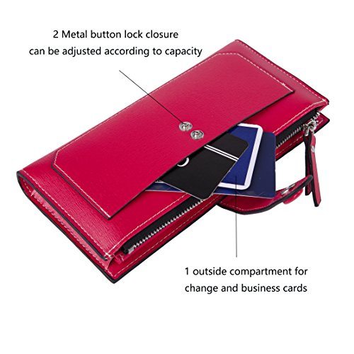 Baellerry Women Soft Leather Long Wallet Large Capacity Cluth Ladies Purse Card Holder (red) by Baellerry (Image #3)