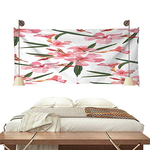 Pattern Tapestry Pink Oleander Seamless Pattern Botanical Illustration Hand Drawn Vector Floral Design for Fashion Prints Scrapbook wrapp 72W x 54L Inch