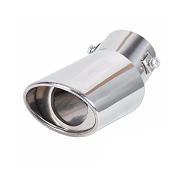 Houkiper Universal Curved Dual-outlet Exhaust Trim Tips Muffler Pipe Chrome Tail Car Rear Exhaust Silencers