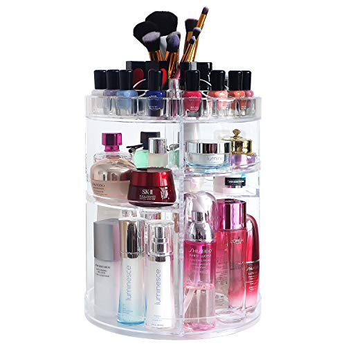 360 Rotating Makeup Organizers and Storage, COOLBEAR Spinning Cosmetic Display Case with 6 Adjustable Layers for…