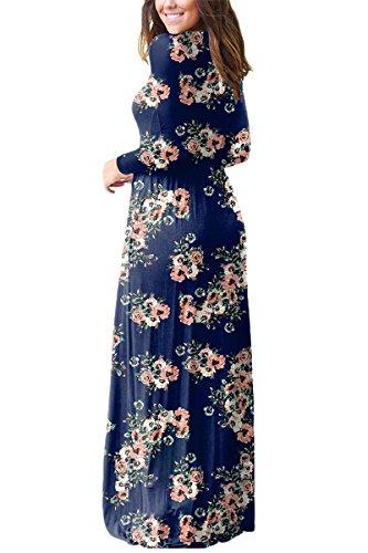 ESONLAR Women Flowy Flared Dresses Bohemian XXL Oversized Plus Size Winter Floral Pattern Long Sleeve Maxi Dress Navy