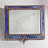 Bass, fishing, Stained Glass Jewelry Box, Presentation Box, Keepsake Box, Glass Jewels, Swarovski Crystals, USA Made