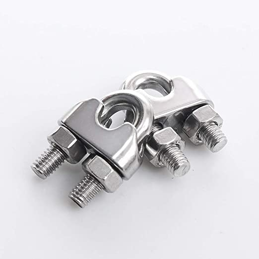 HEVERP 24PCS 3//16 Inches M4 Stainless Steel Wire Rope Cable Clip Clamp