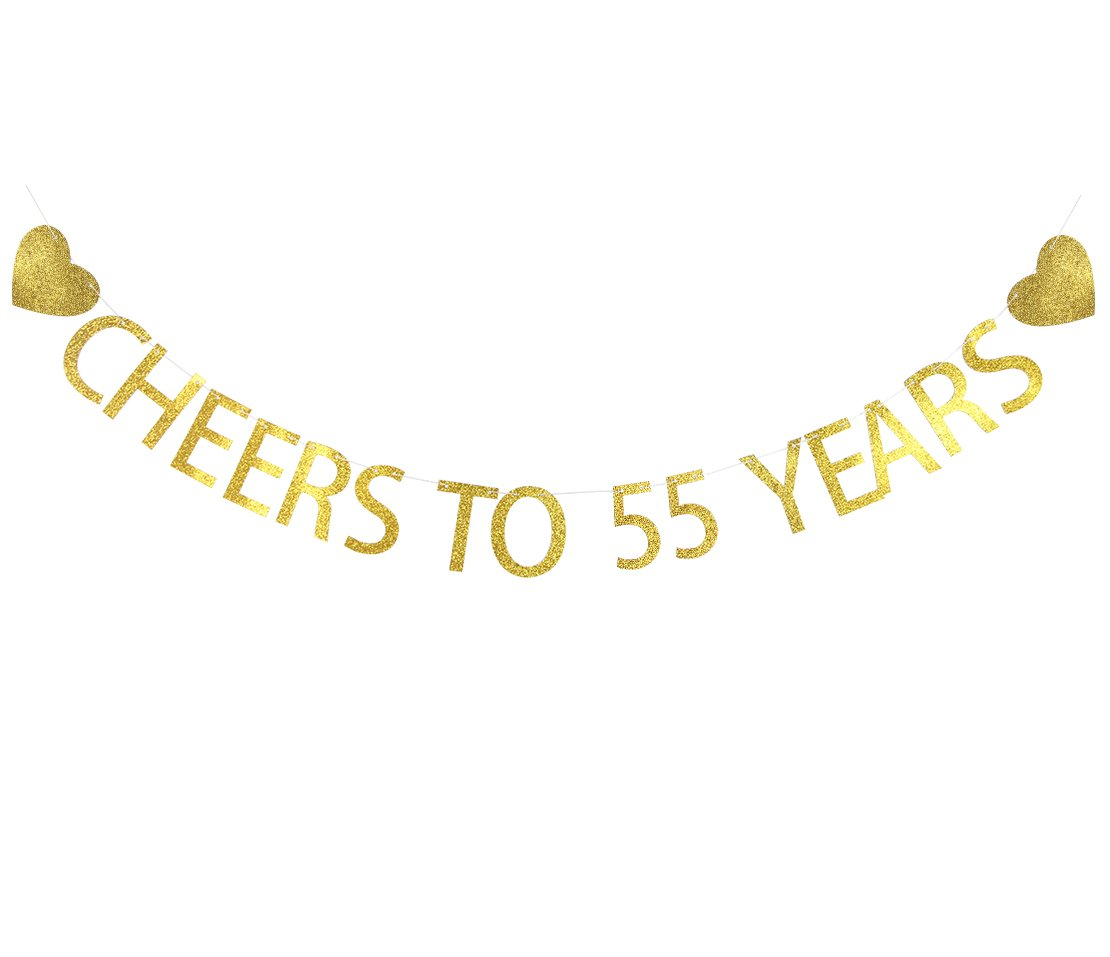 LOVELY BITON Gold Cheers to 55 Years Banner Decoration Kit Themed Party Banner for Birthday Wedding Showers Photo Props Window Decor