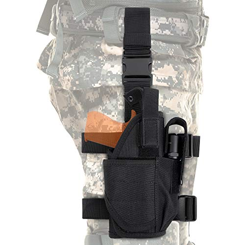 CS Force Tactical Drop Leg Holster, Adjustable Gun Holster Thigh Pistol Holster with Magazine Pouches for Left/Right Handed